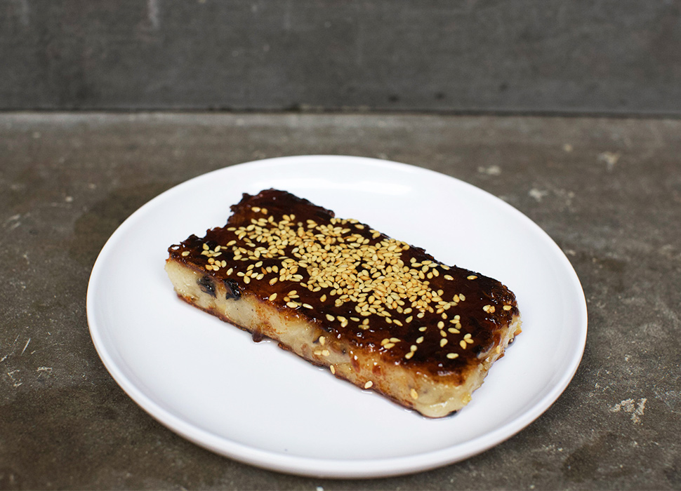 A daikon cake dish at a Taiwanese restaurant in Soho, London